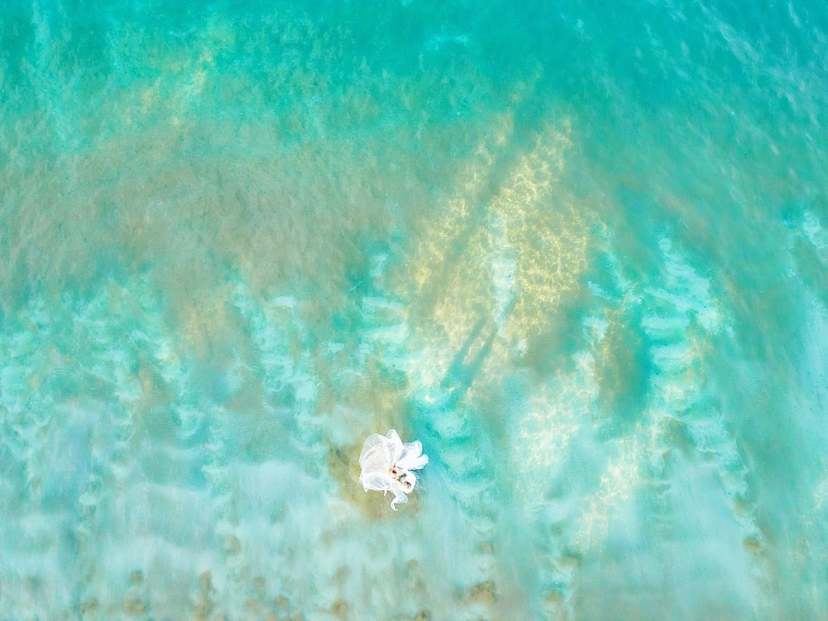 Bride wearing a fluffy wedding gown for Maui drone portrait session