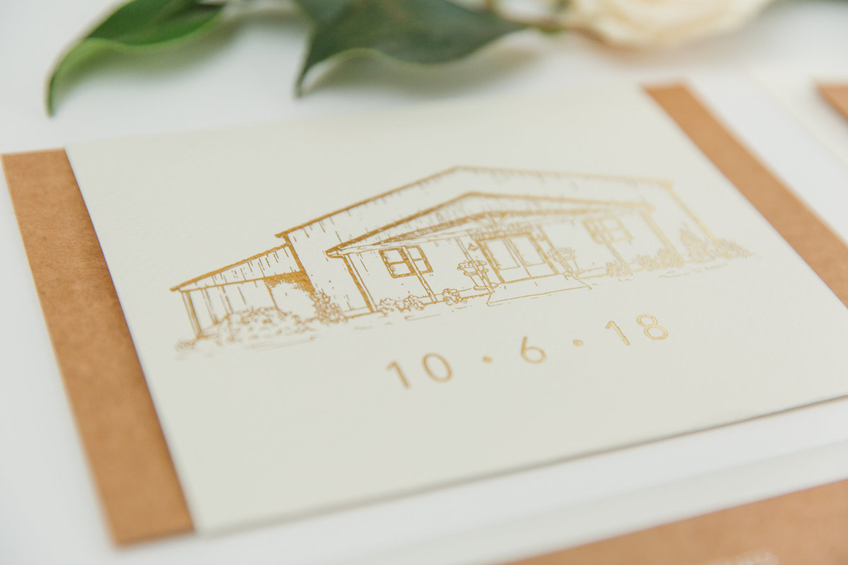 Closeup of Custom illustrations with gold ink