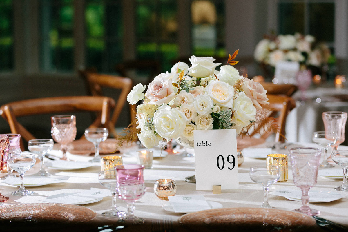 Wedding reception white room pink and white table decor floral centerpiece