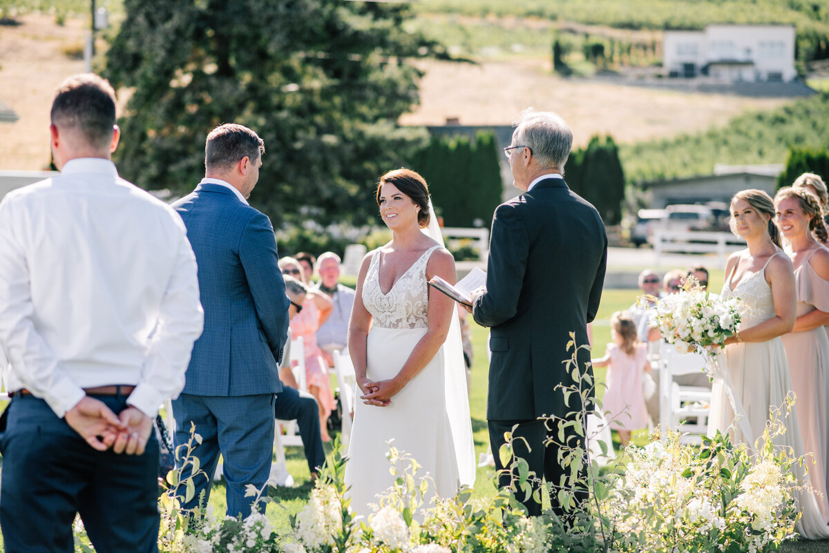Summer wedding ceremony at Harmony Meadows in Manson, WA