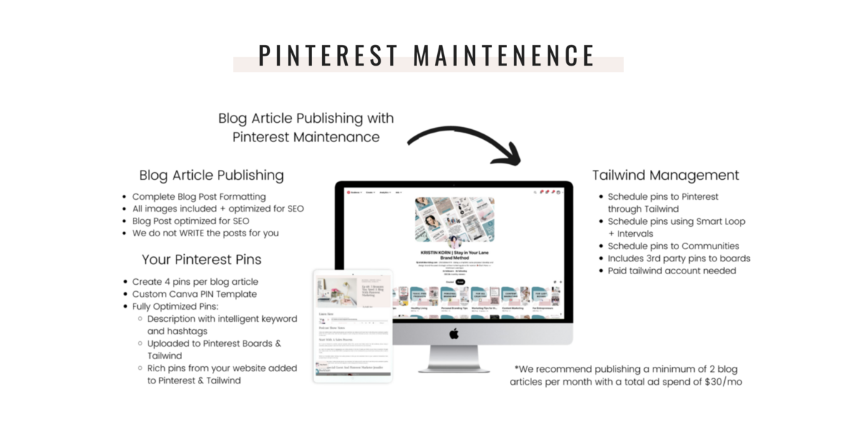 CORE Brand Marketing group Blog and Pinterest maintenance mock