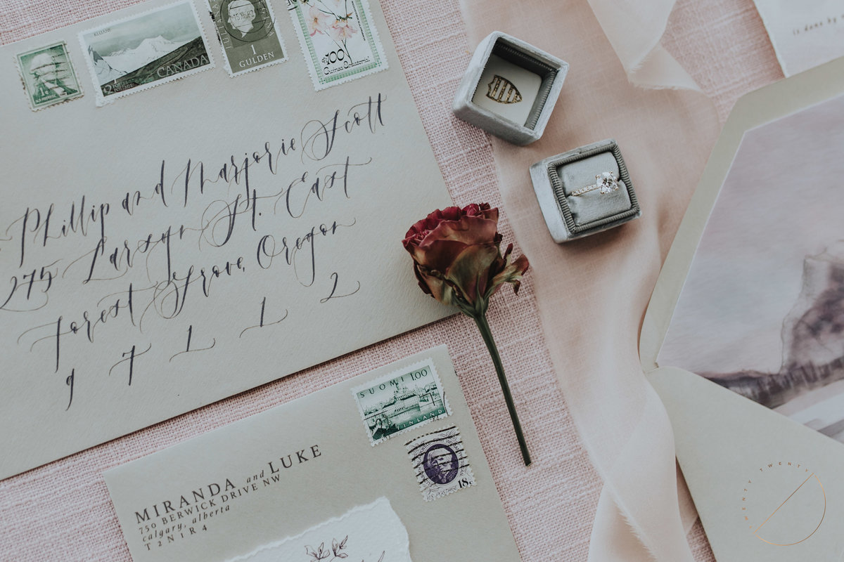 best wedding invitations and wedding stationary created by Art and Alexander, photo captured by banff wedding photographer Lindsay Copeland of Twenty Twenty Photography