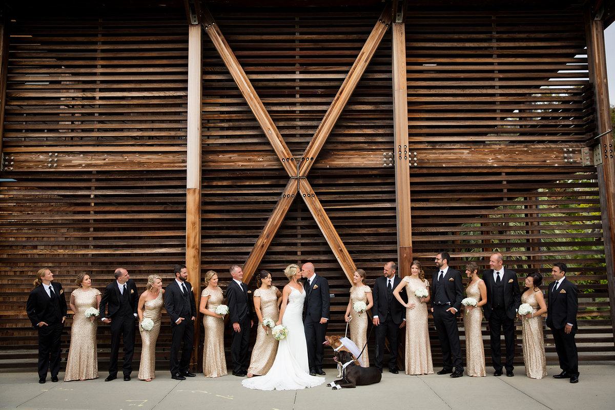 Scripps Seaside Forum wedding photos bridal party outside
