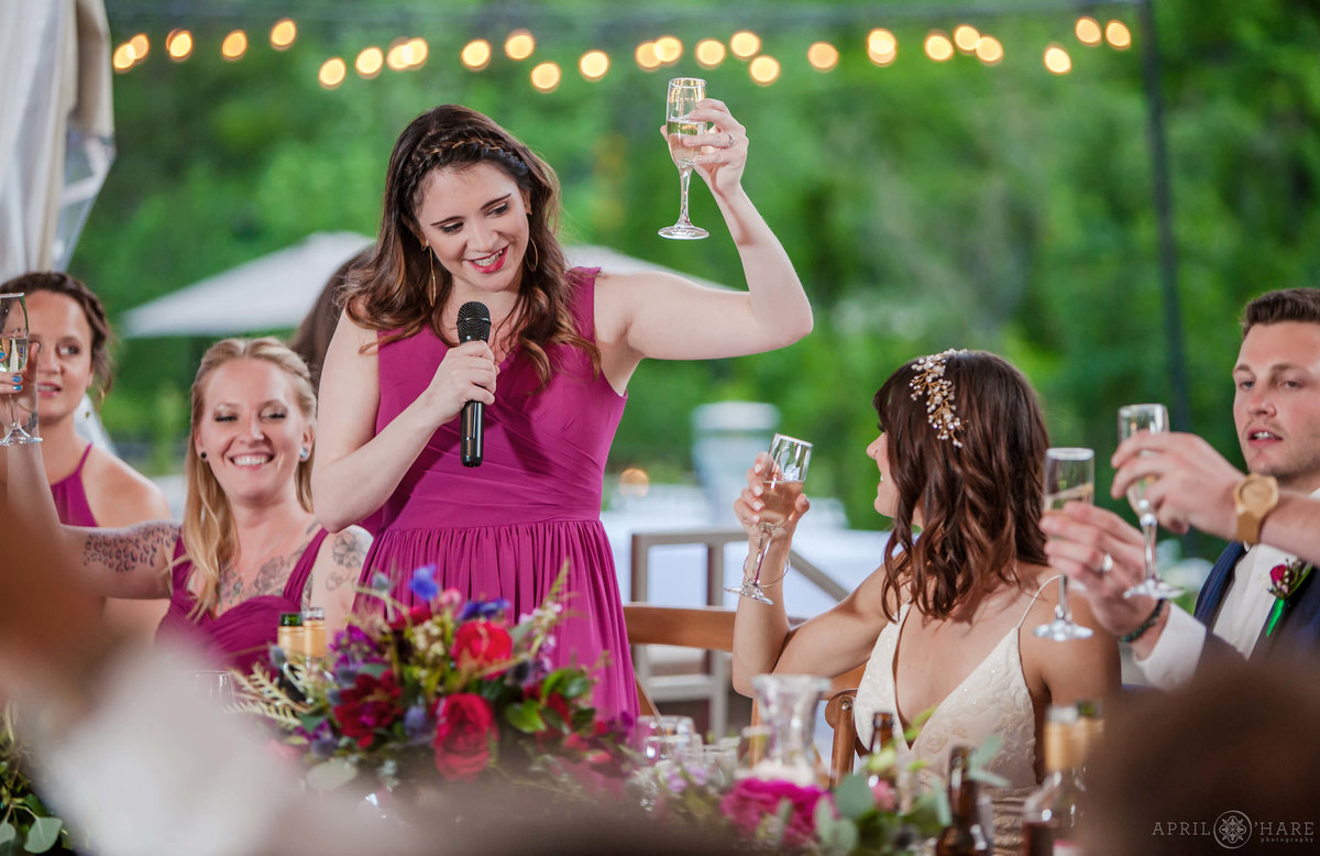 Boulder Colorado Wedding Photo of a Bridesmaid Toast