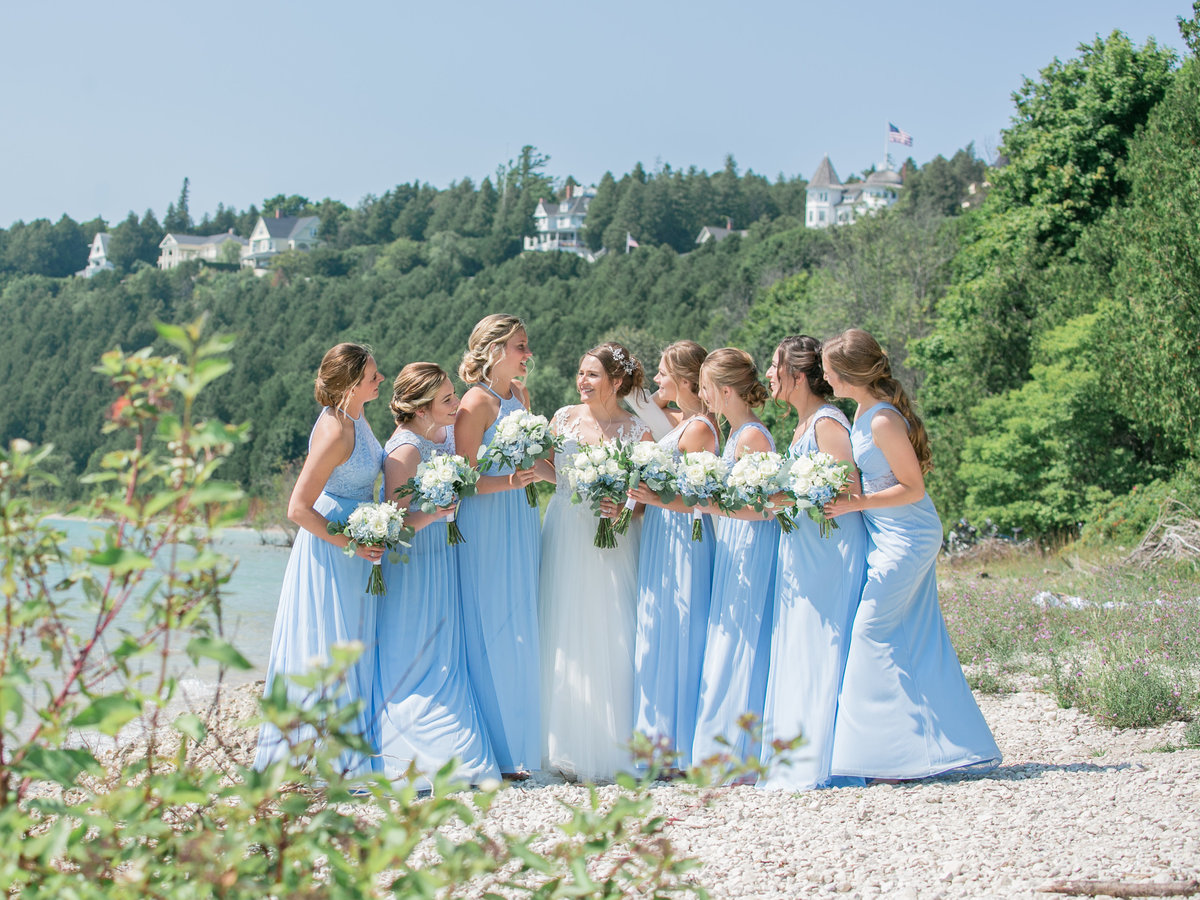 Bridal Party on the beach in blue dresses