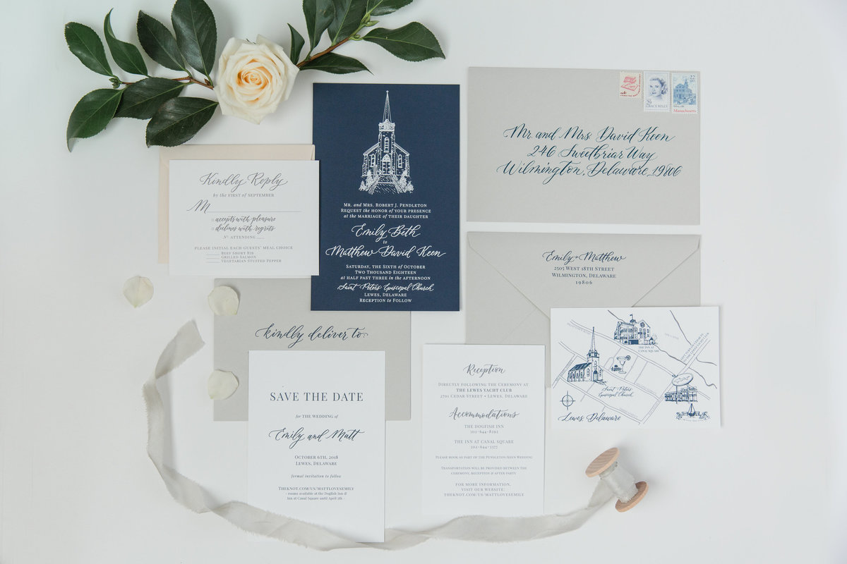 Blue and gray wedding inviations