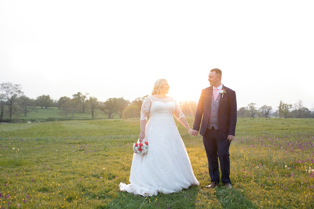 Bride and Groom at Sunset at Rockbeare Manor exeter_