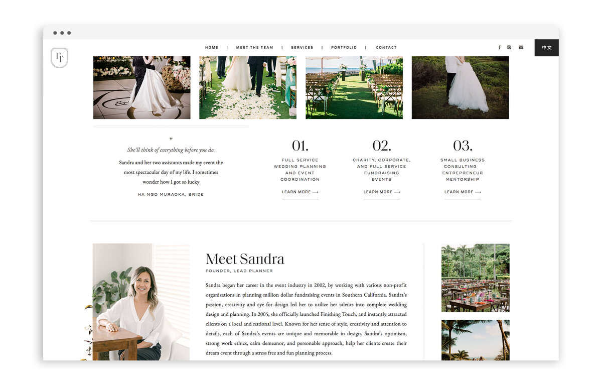 Finishing Touch Hawaii - Custom Brand and Web Design Website Design for Wedding and Event Planner - With Grace and Gold - Showit Website Designer - 21