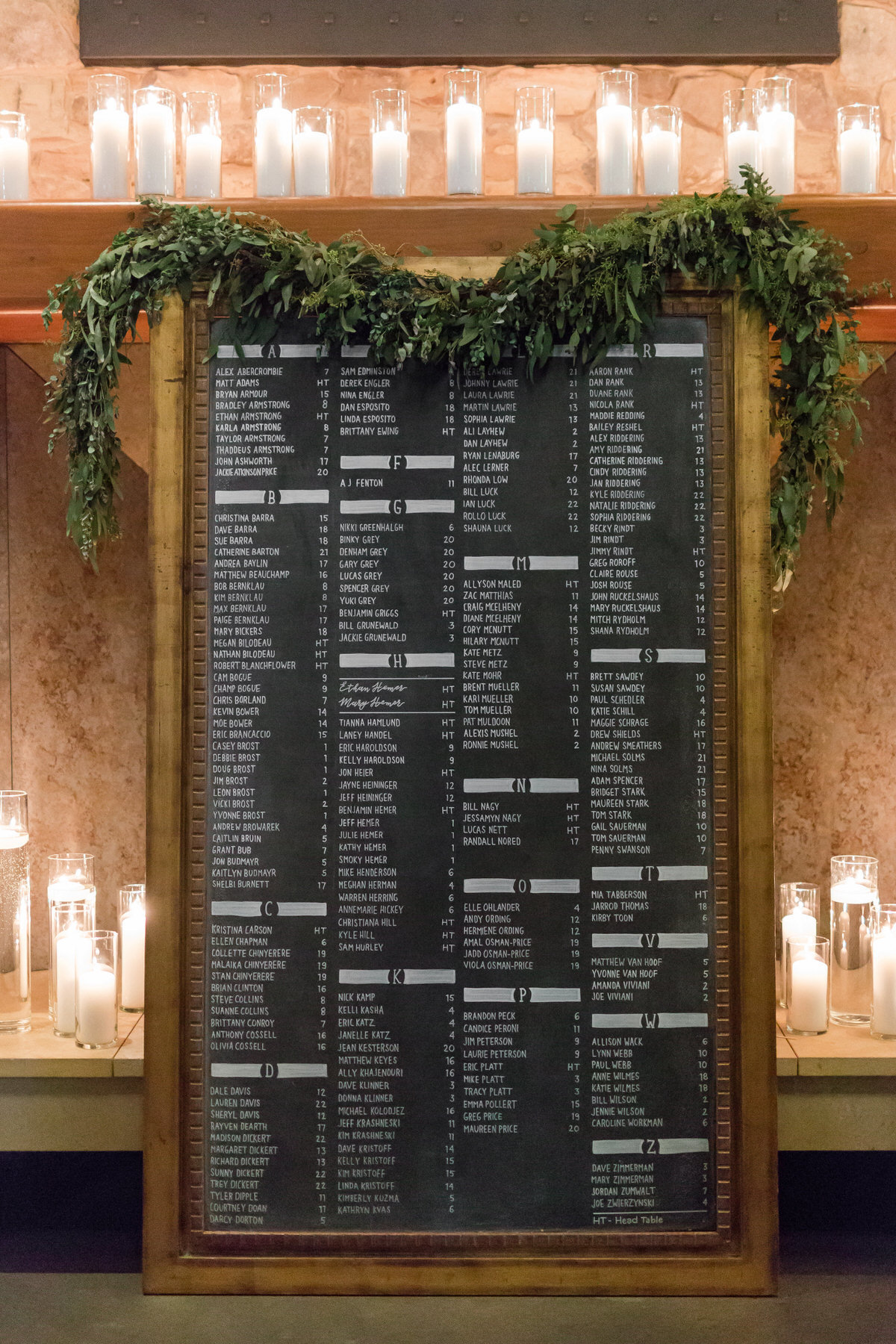 escort cards, table assignment board