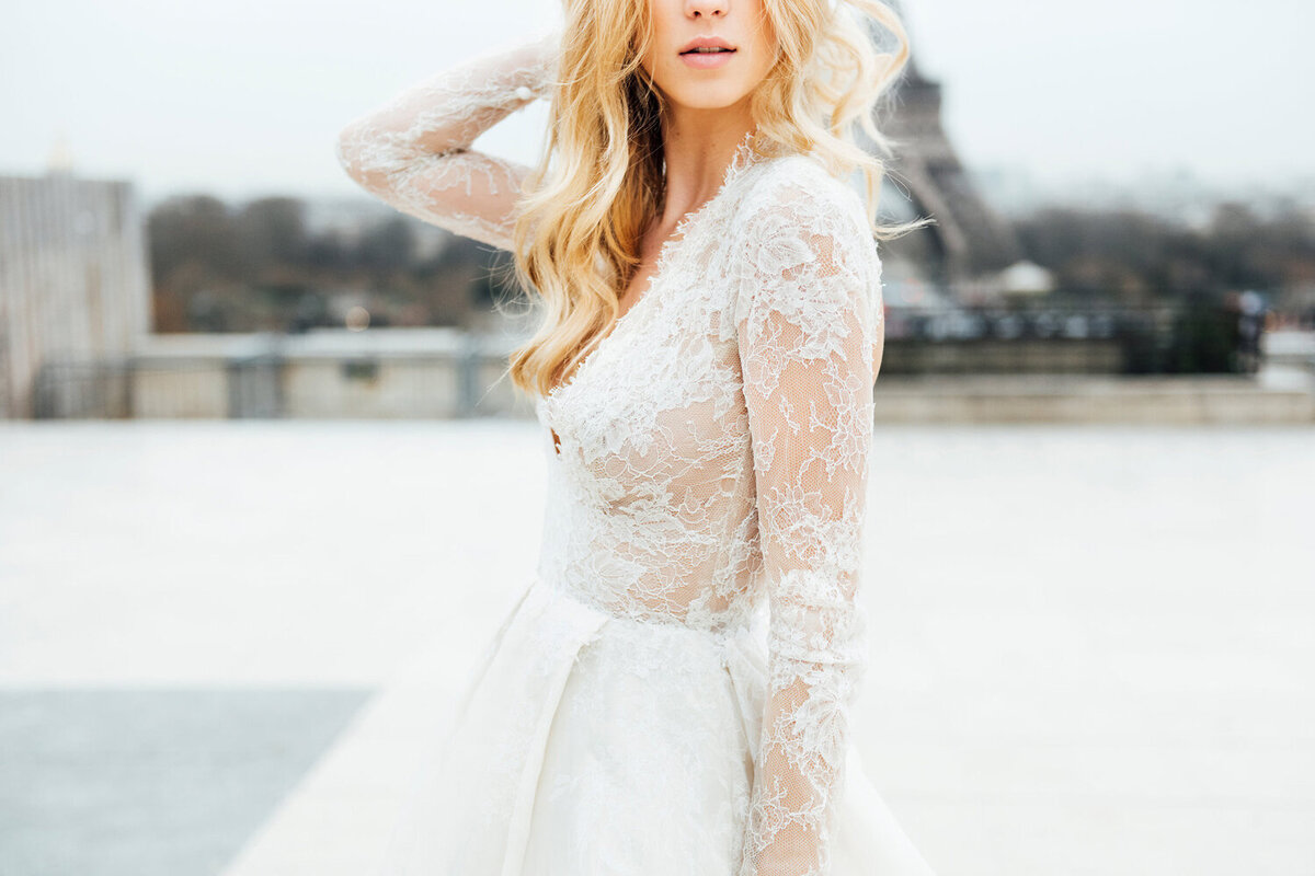 Katie Mitchell, Monique Lhuillier Bridal Paris France Wedding Trine Juel Hair and makeup 3