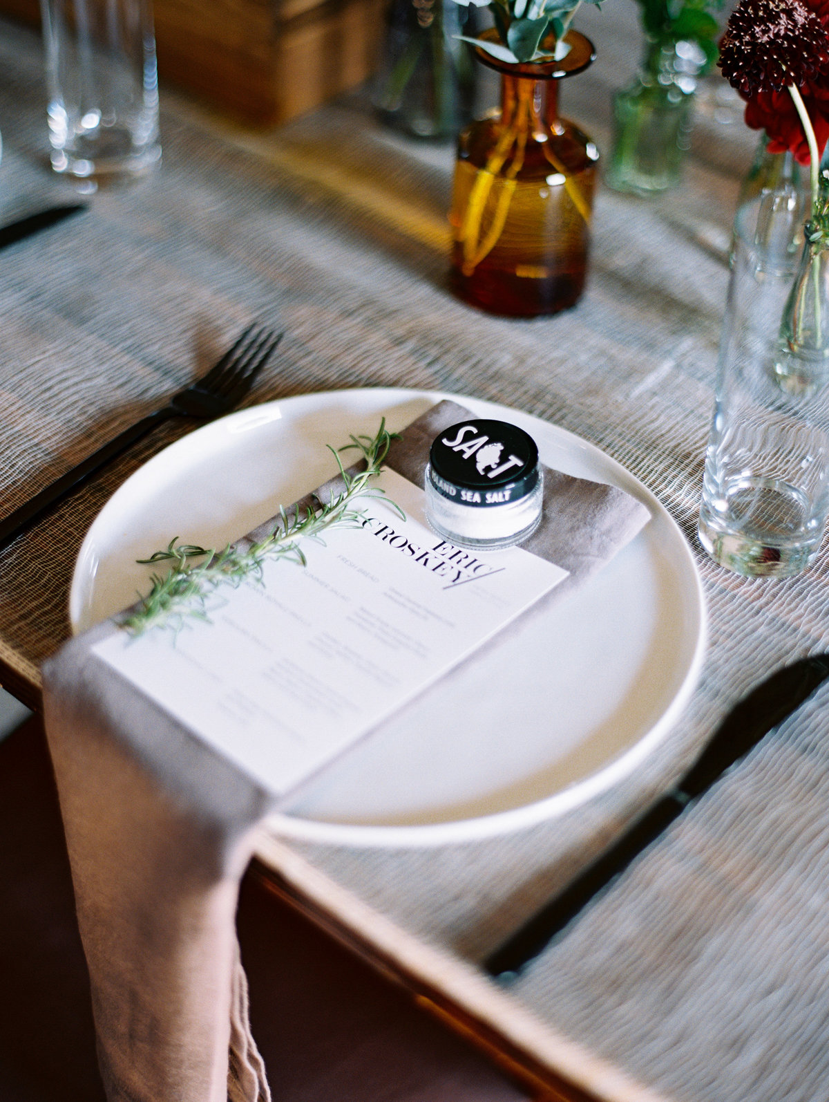 salt favors menu at table wedding reception