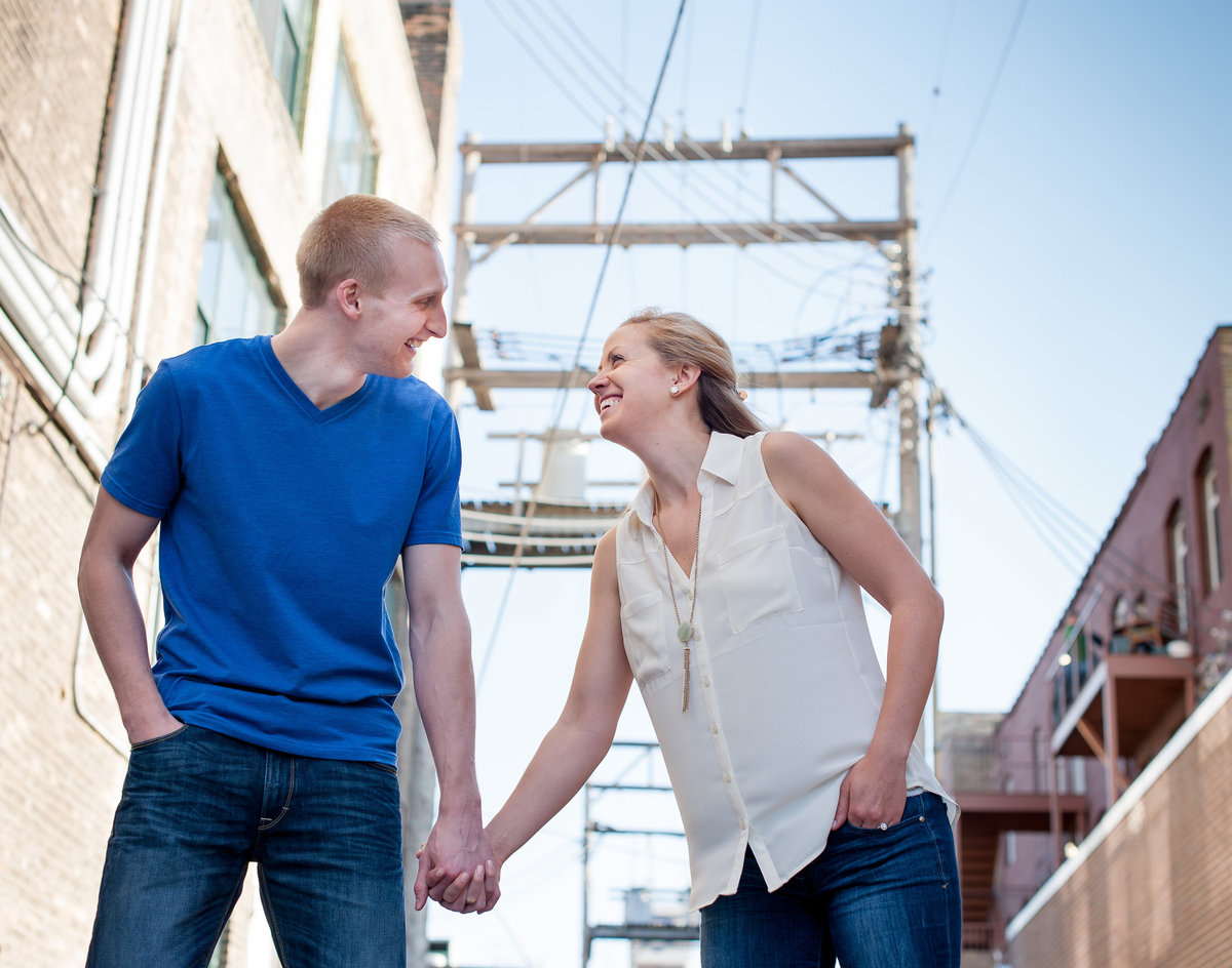 fargo alley engagment photos by Kris kandel