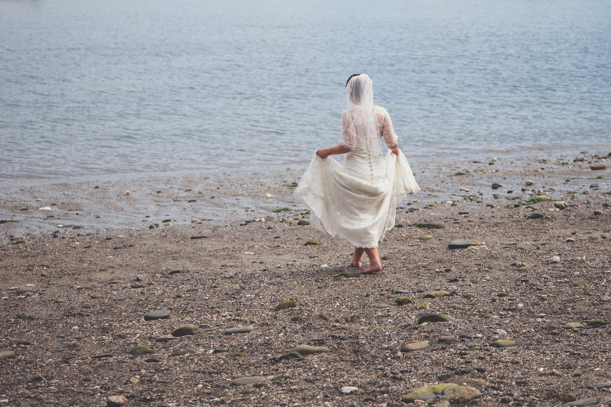 Durgan beach wedding bride photography