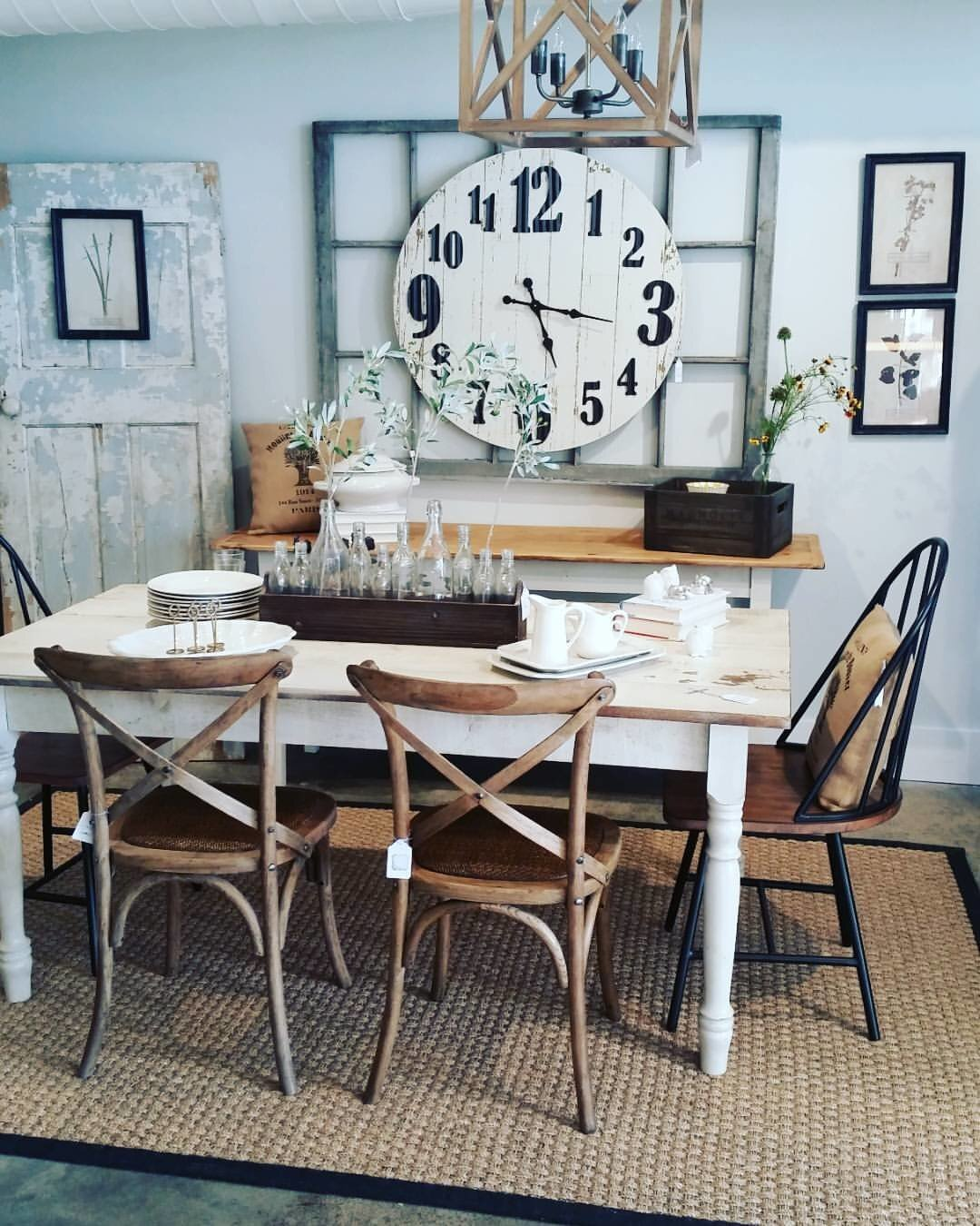 farmhouse dining table and clock