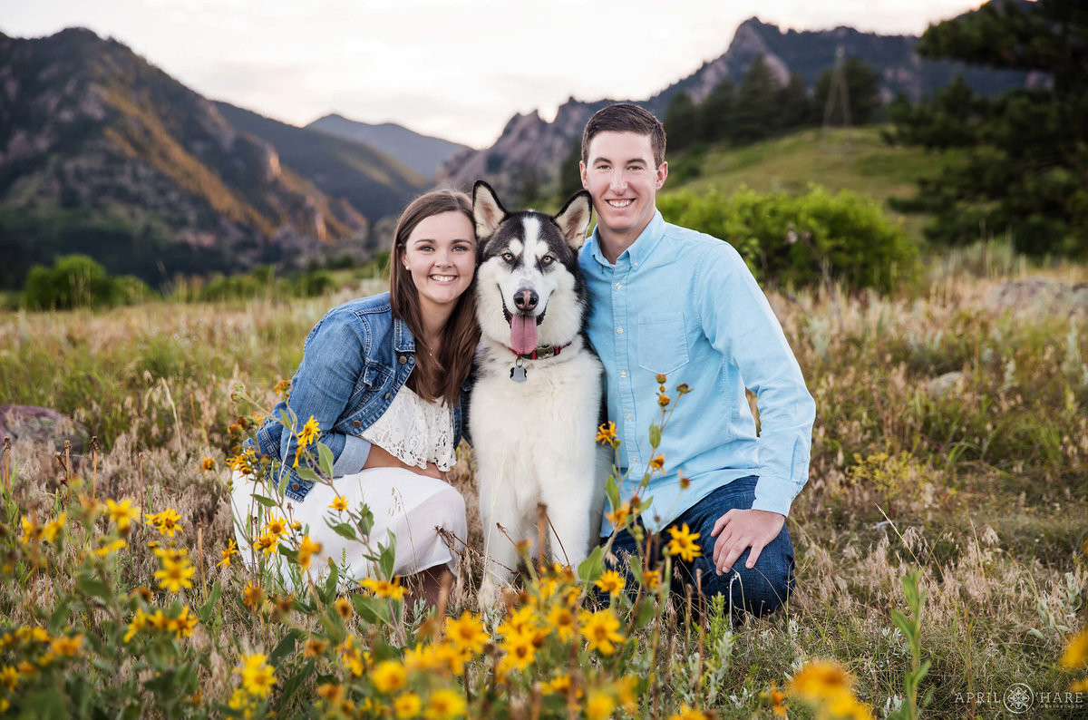 Adorable Engagement Photo with Large Malamute Dog at South Mesa Trial during Summer in Boulder Colorado