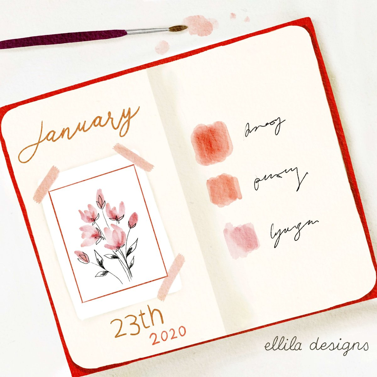 Journal watercolor illustration Ellila Designs