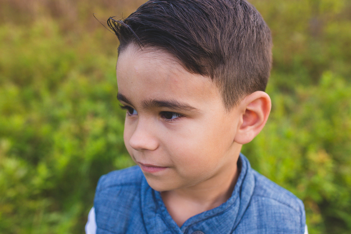 Side profile of five year old boy outdoors {Milton Child Photographer}
