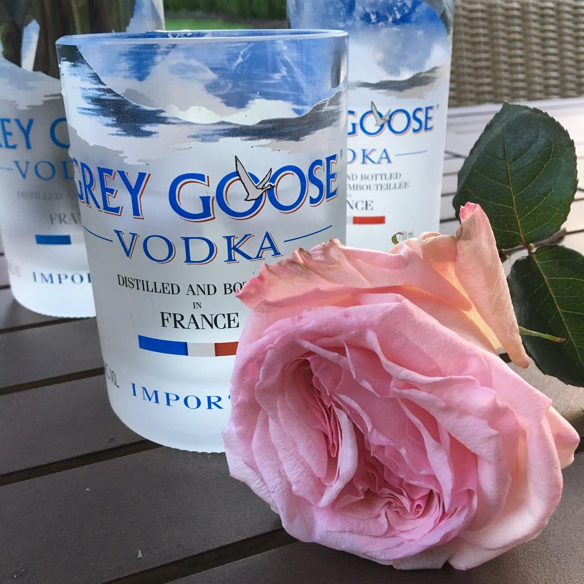 Recycled Grey Goose Vodka glasses and pink O'Hara David Austin Rose