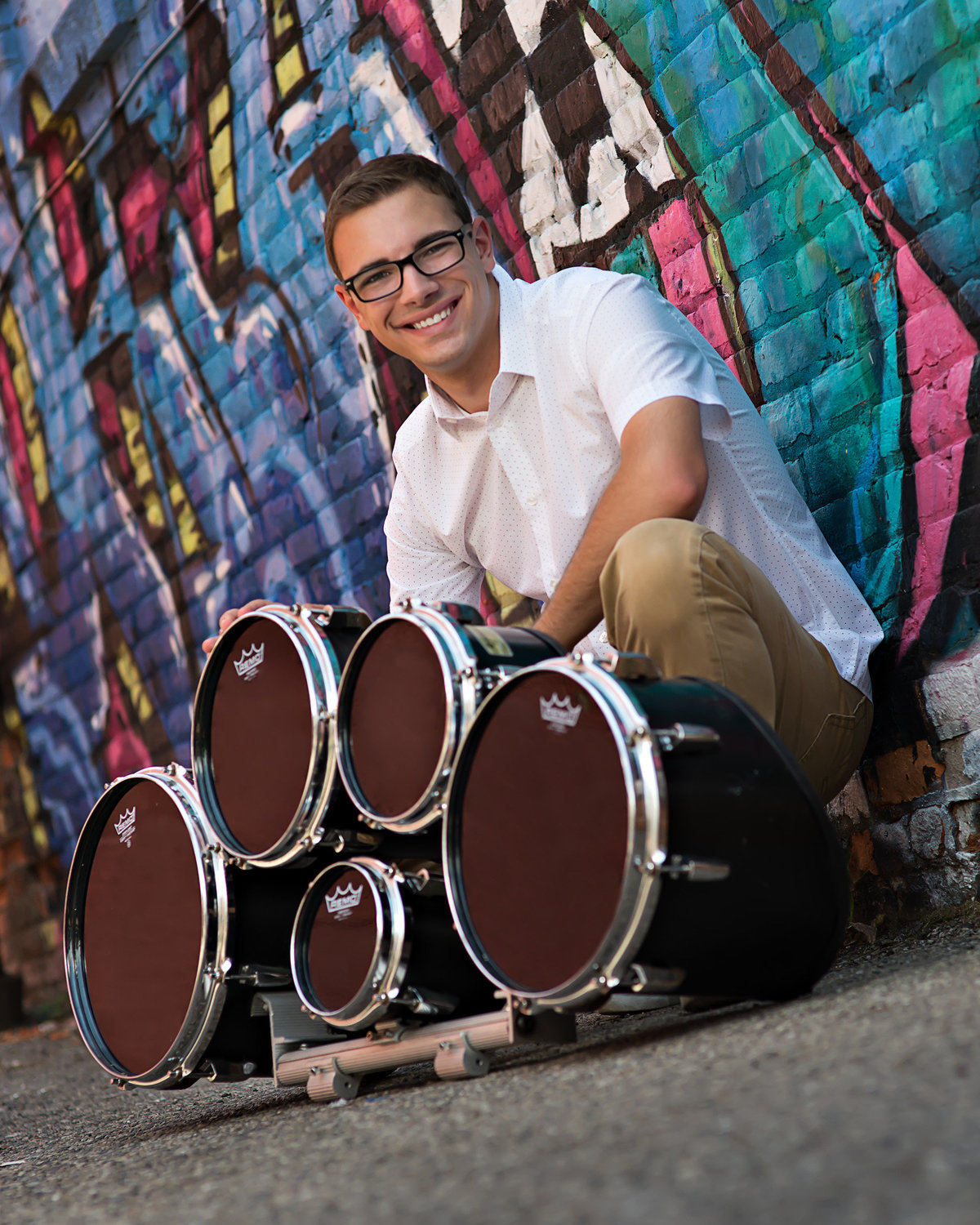 lansing michigan senior portraits of drummer