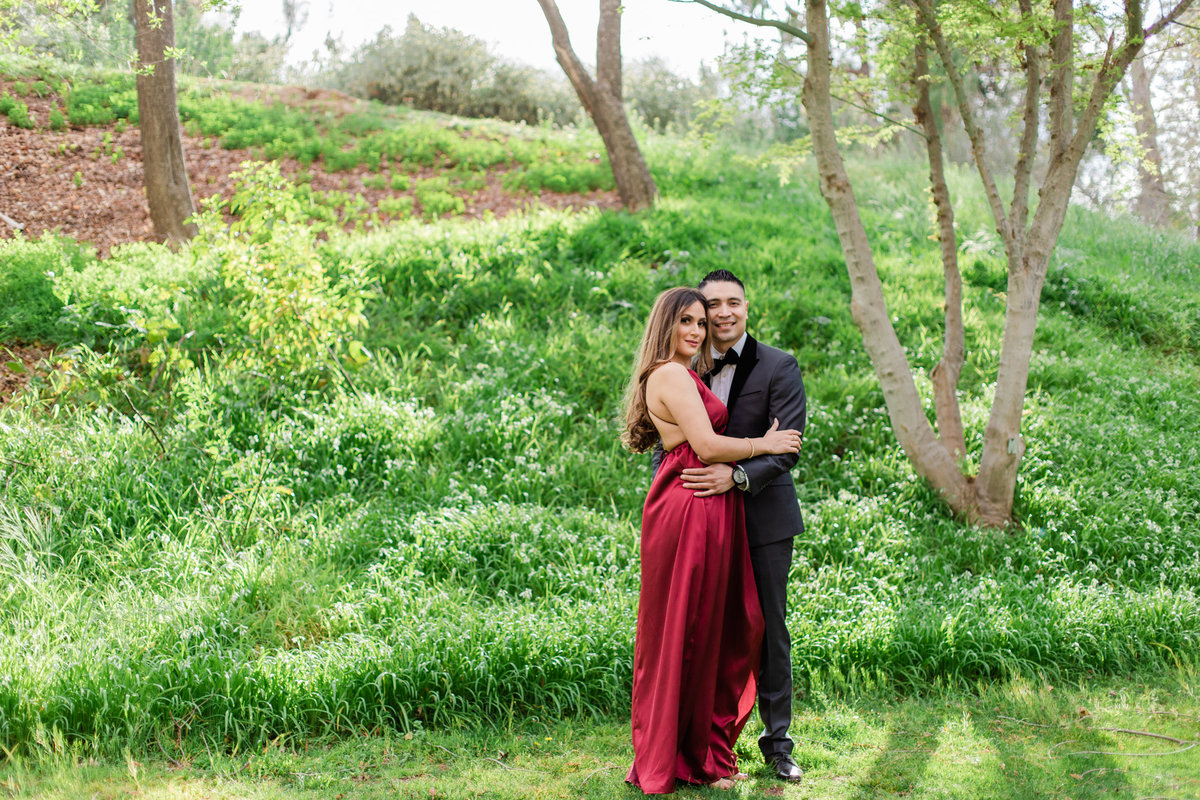 UC Riverside Botanical Gardens, Engagement Photography, Riverside Phototgrapher, Garden Engagement, Couple Photography, Red Dress-26