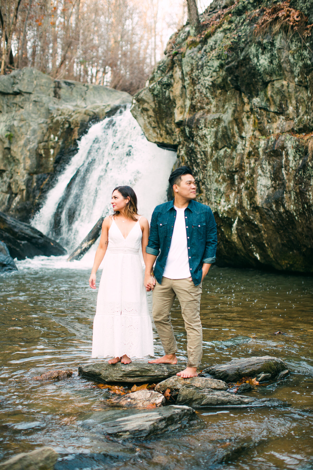 maryland waterfall engagement