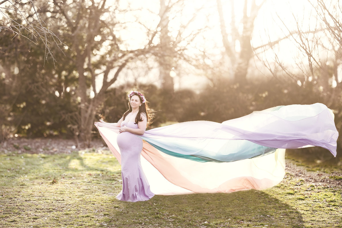 Dreamcatcher Rose Studios - Rainbow Gown Blowing in Wind with Sunlight