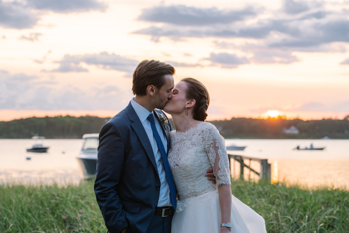 Bride and groom at sunset Cape Cod