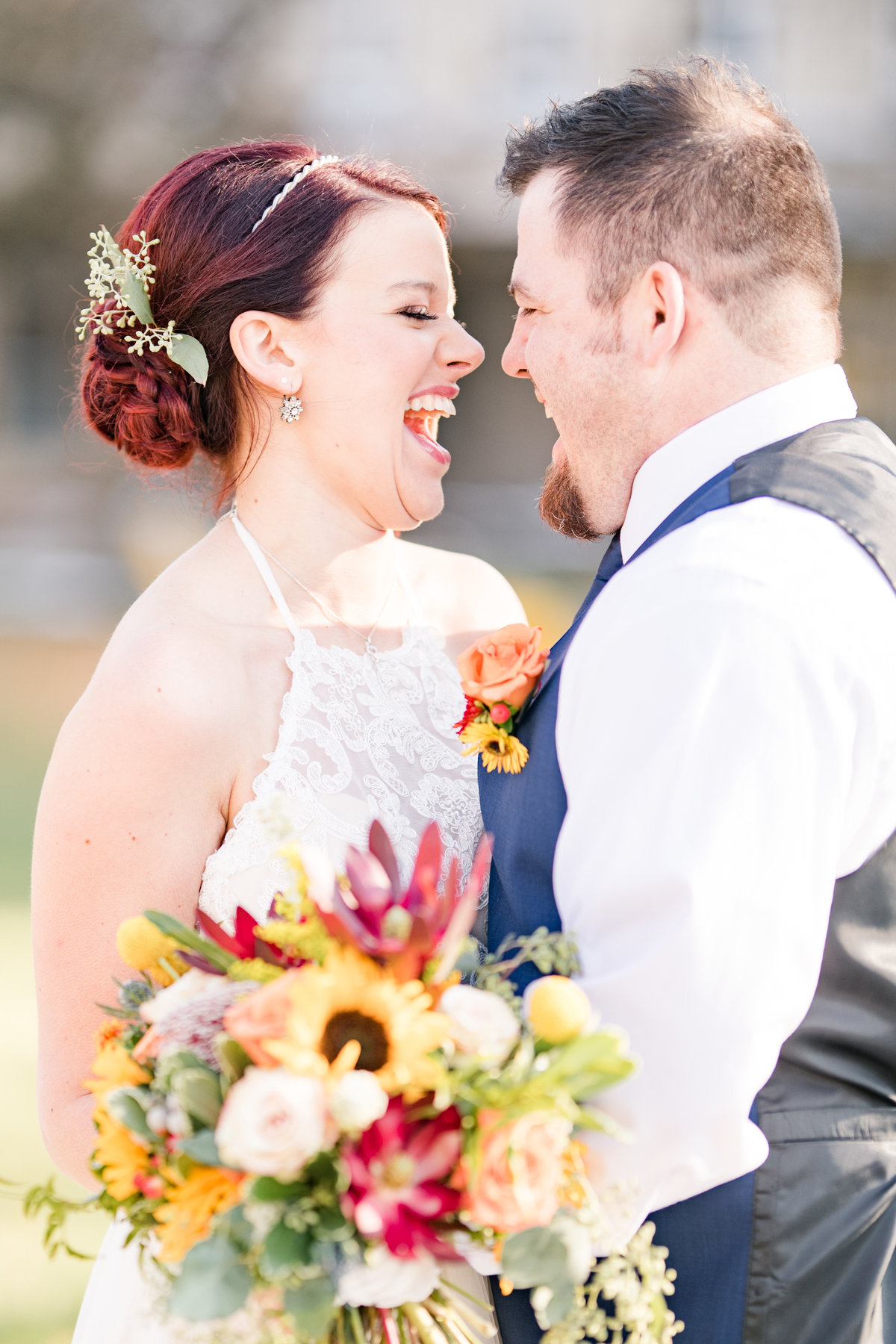 Couple Portraits Wedding Brewery Cincinnati Ohio Colorful Flowers-78