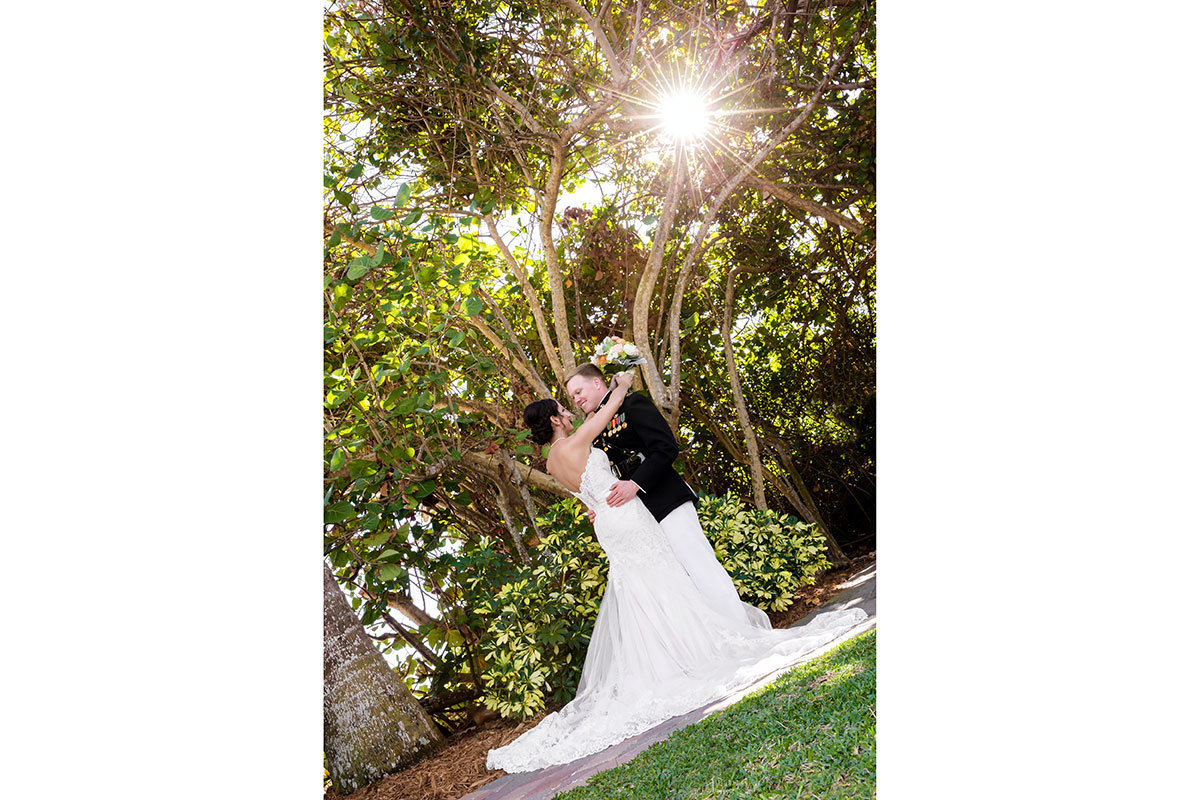 pink shell fort myers wedding photo military