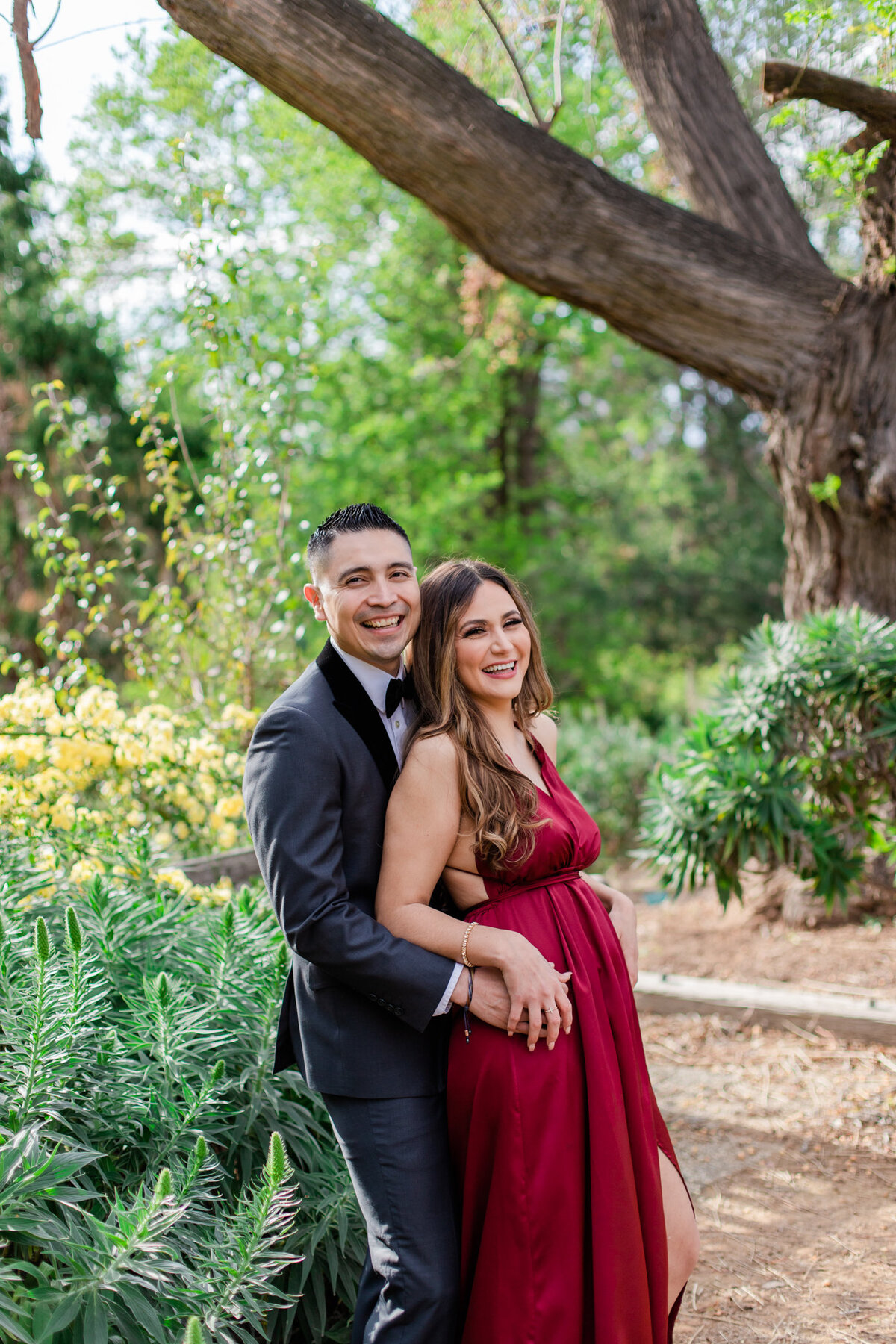 UC Riverside Botanical Gardens, Engagement Photography, Riverside Phototgrapher, Garden Engagement, Couple Photography, Red Dress-34