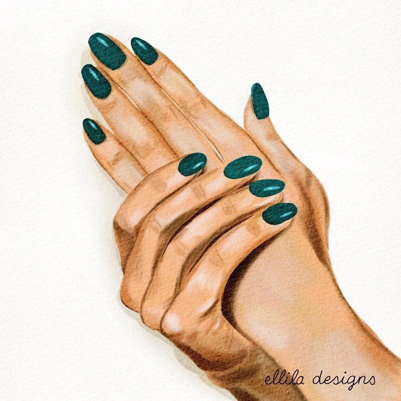 Hands manicure illustration Ellila Designs