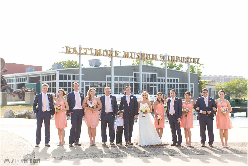 Baltimore Museum of Industry Wedding Bridal Party Portrait