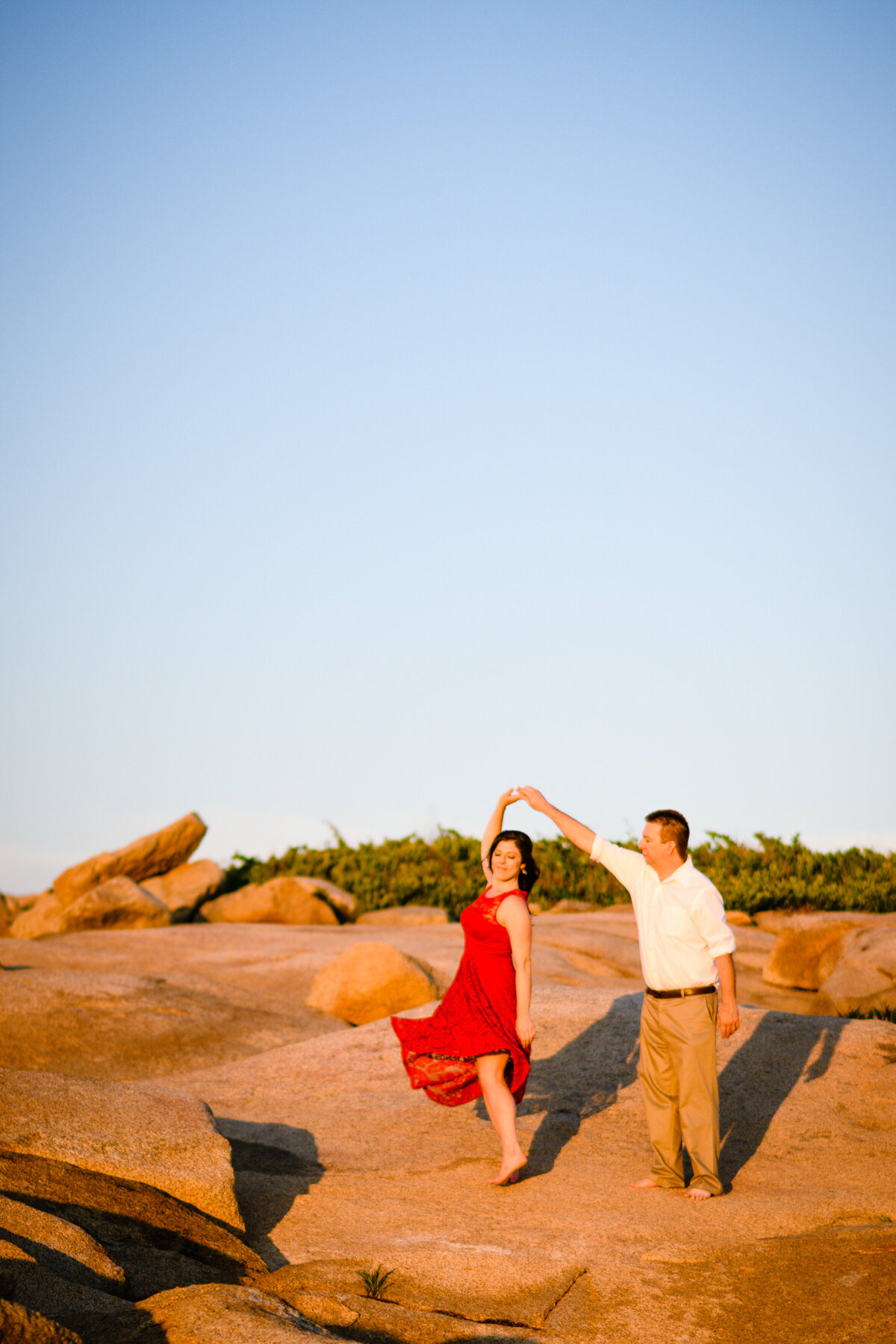 Sunset dance for MA engagement session