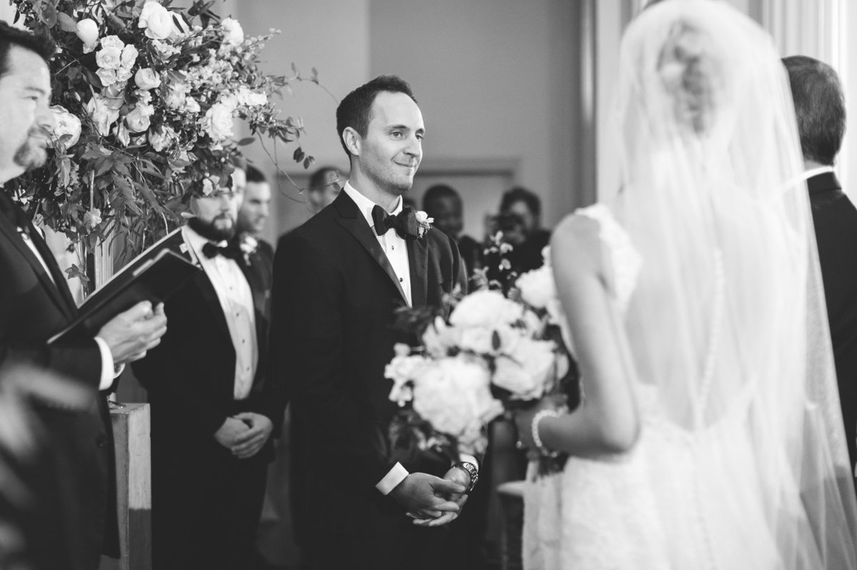 Emotional real wedding moment captured by Rebecca Cerasani when Groom sees his bride.