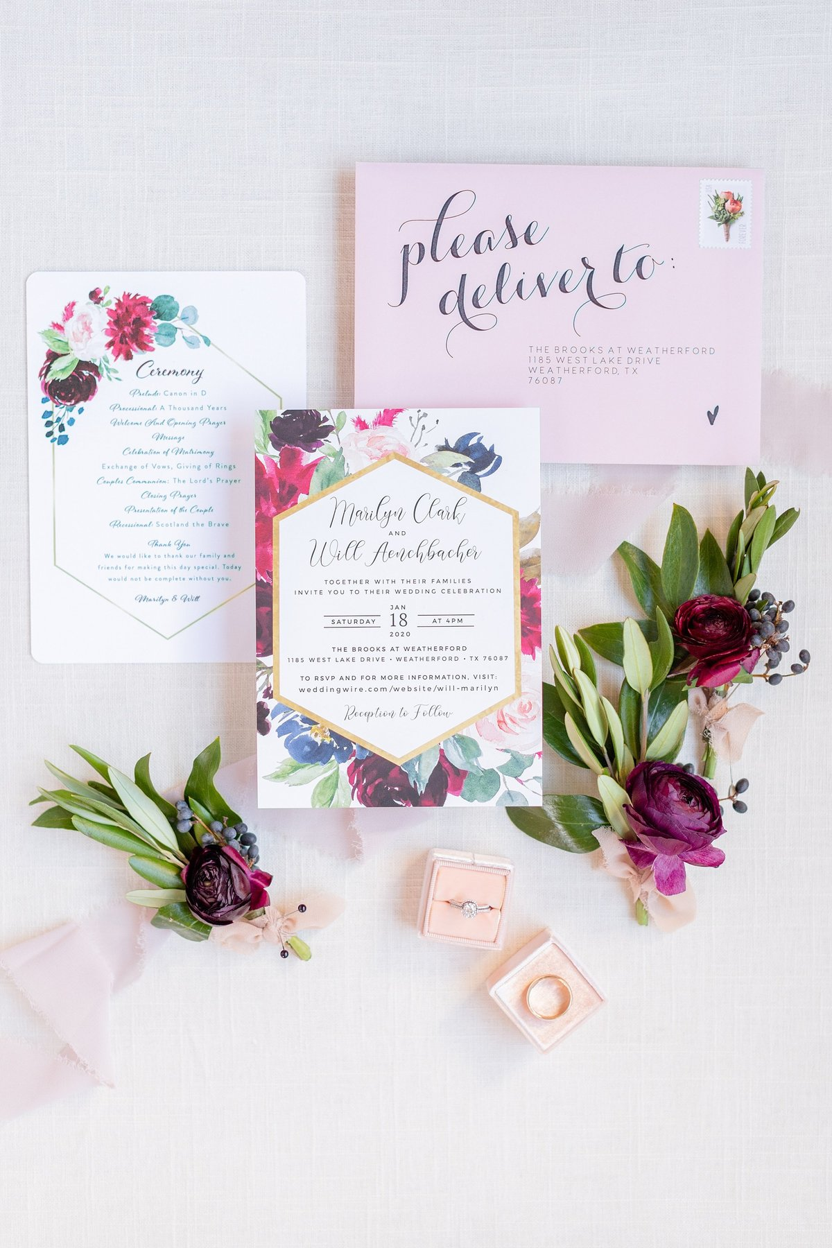 the brooks at weatherford wedding detail invitations