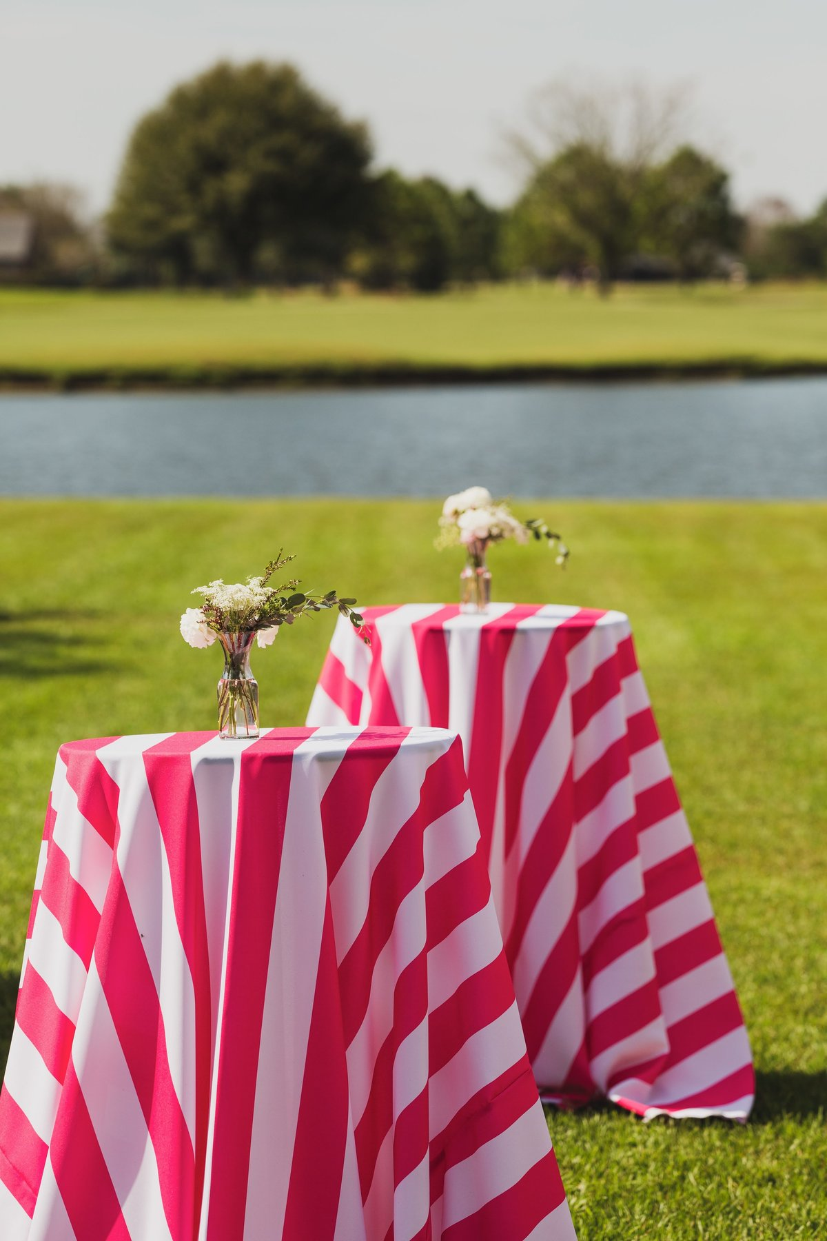 Bright pink stripe linen outdoor kids party
