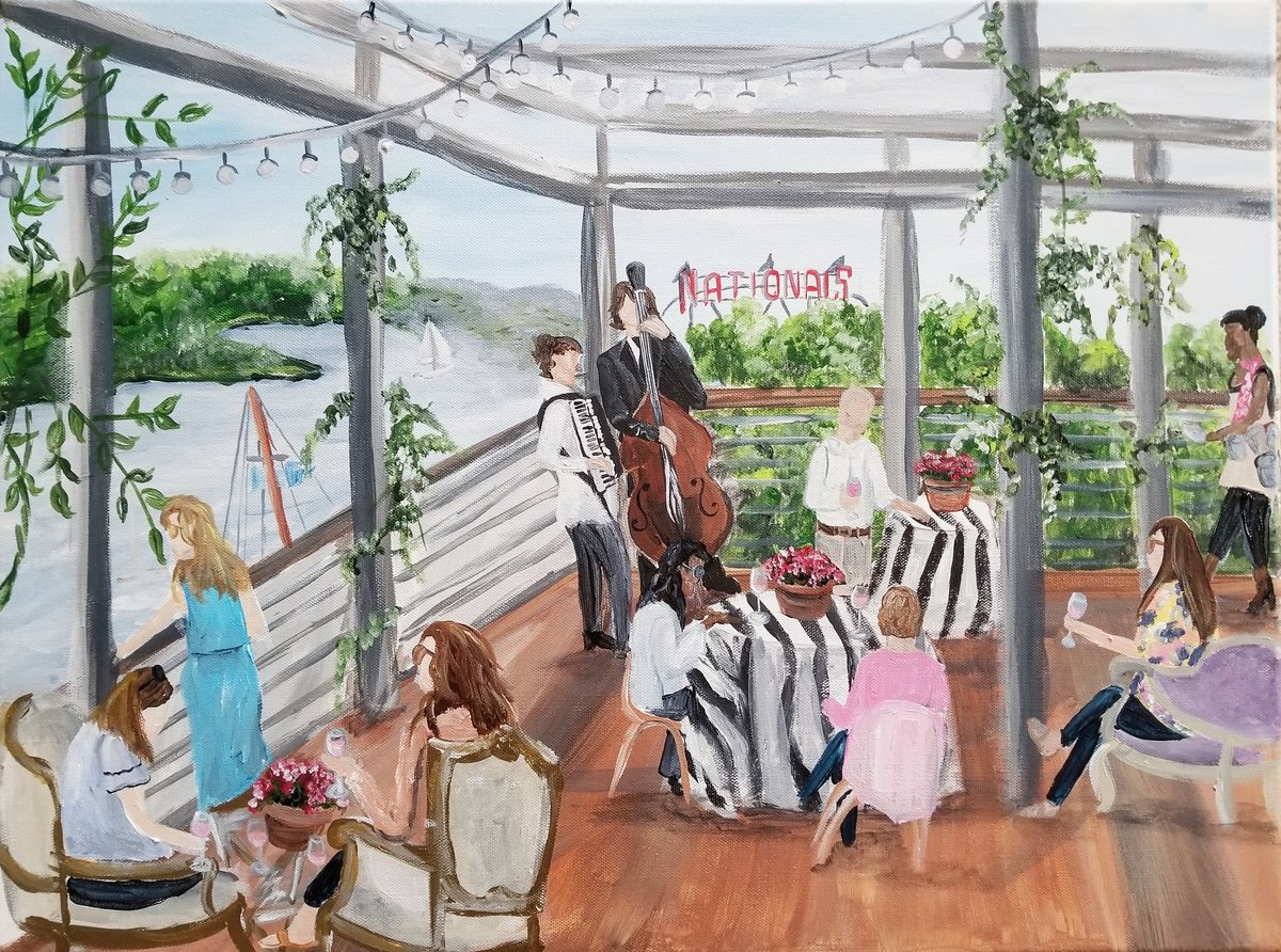 cocktail hour District Winery Washington DC live wedding painting
