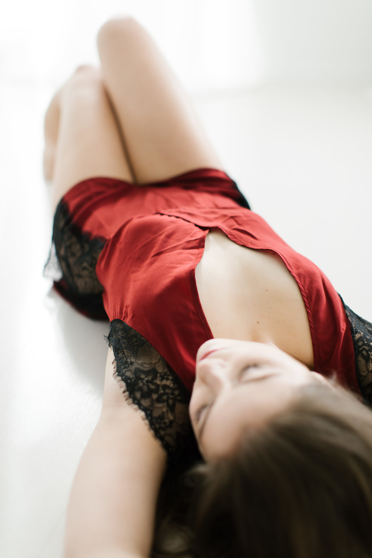 red lingerie bridal boudoir session