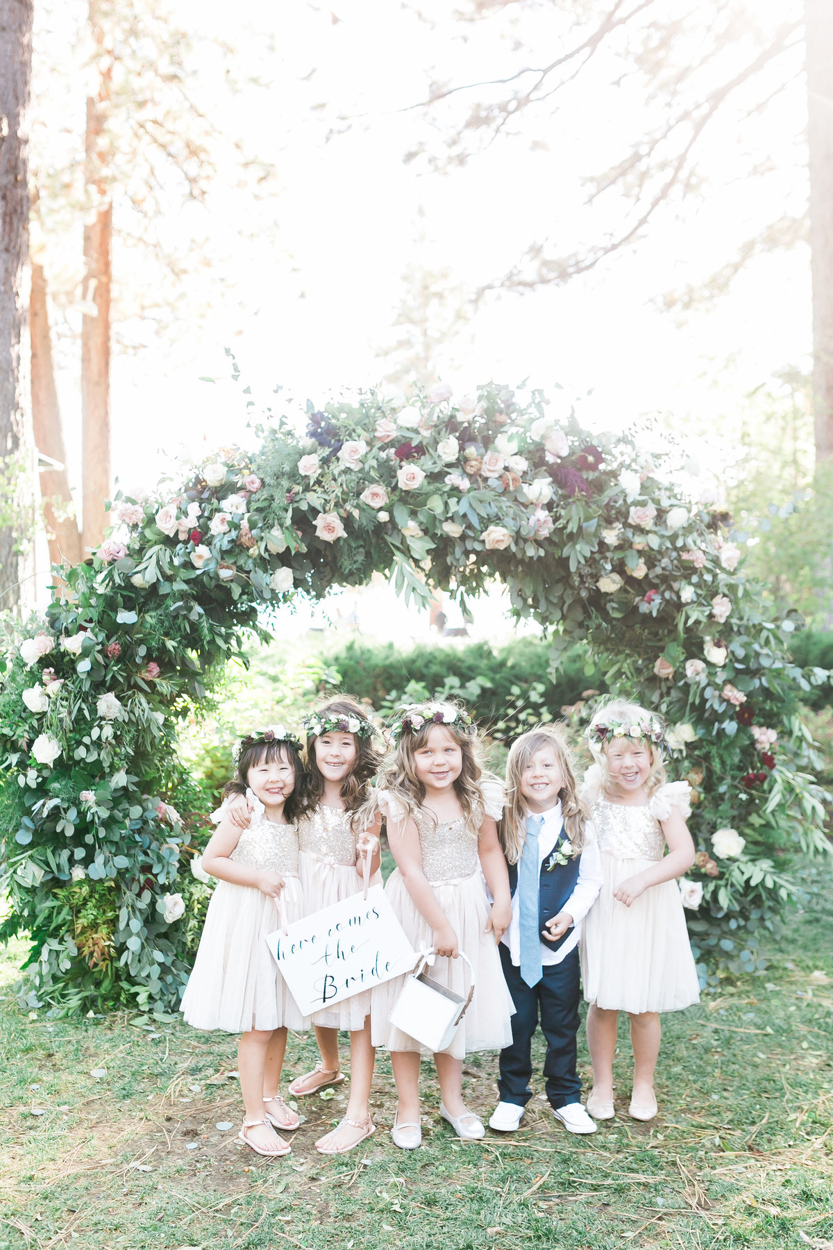 wedding flower girls and ring bearer photo with flower crowns in Lake Tahoe