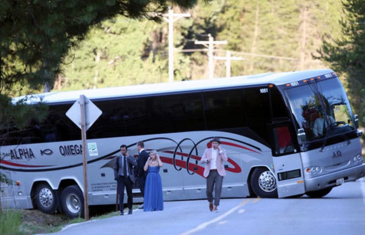 JB WEDDING - Z - PAPARAZZI - TMZ BUS IN DITCH