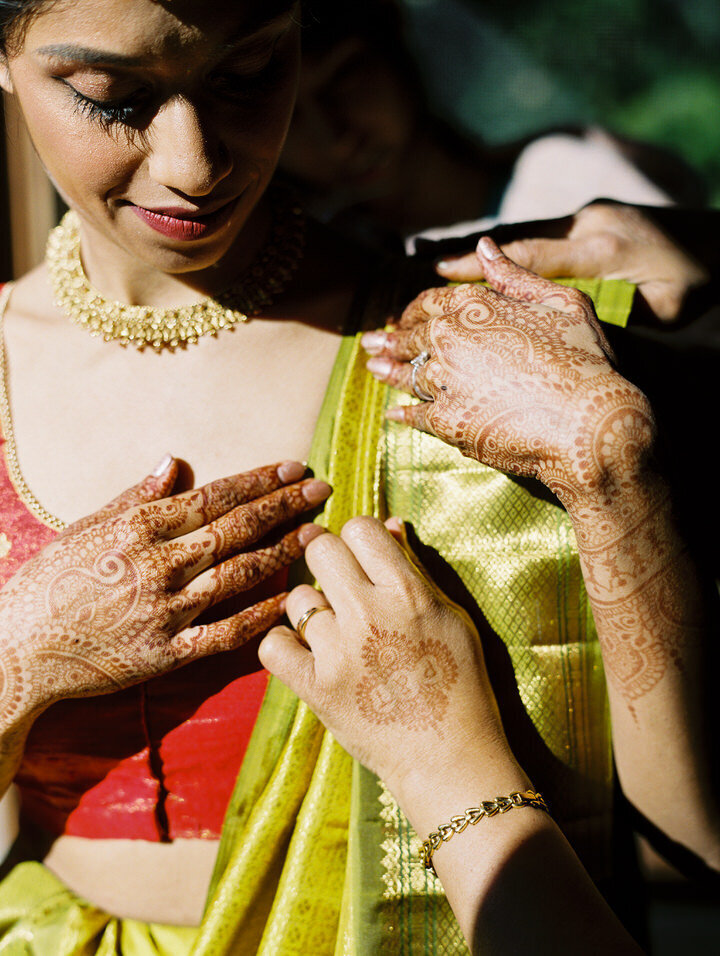 red and green indian wedding sar