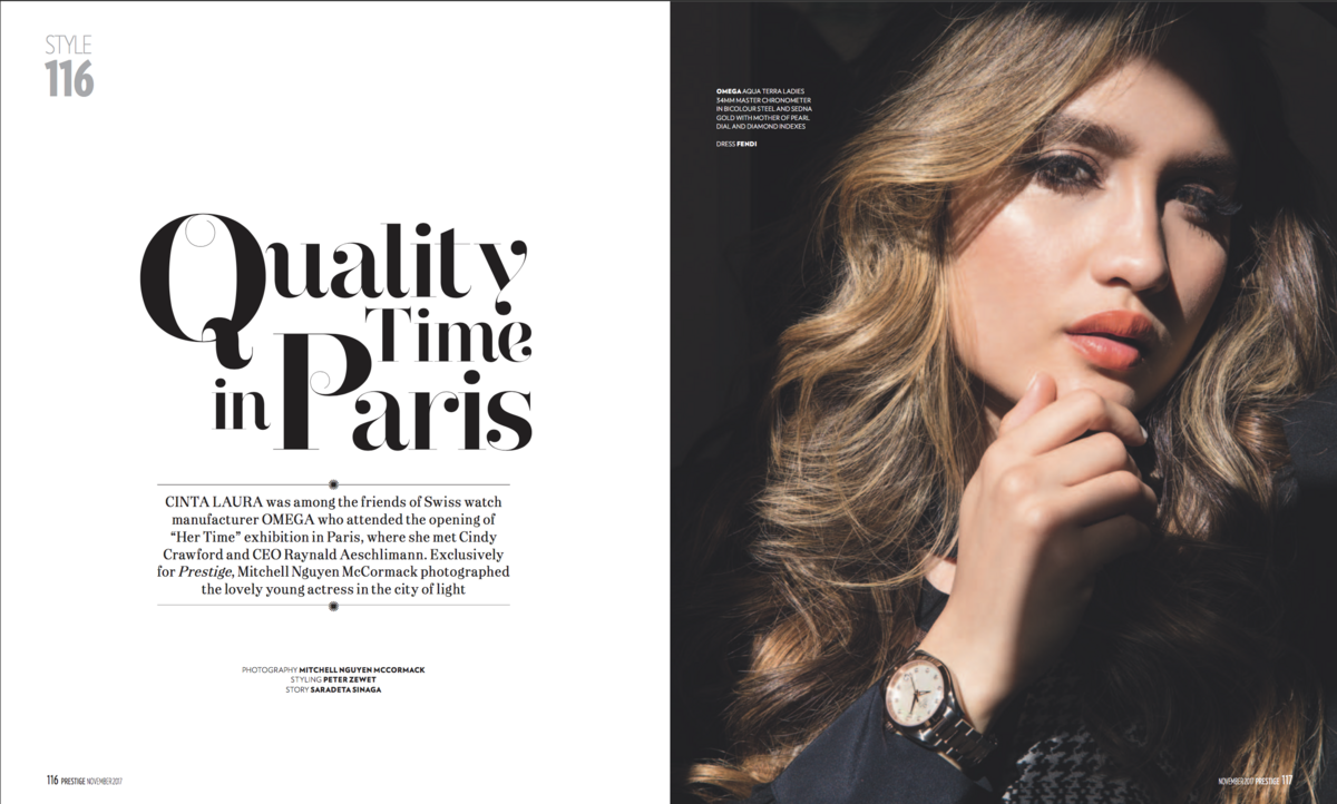 Prestige magazine, Omega, Cinta Laura, Hair and makeupartist Trine Juel 1