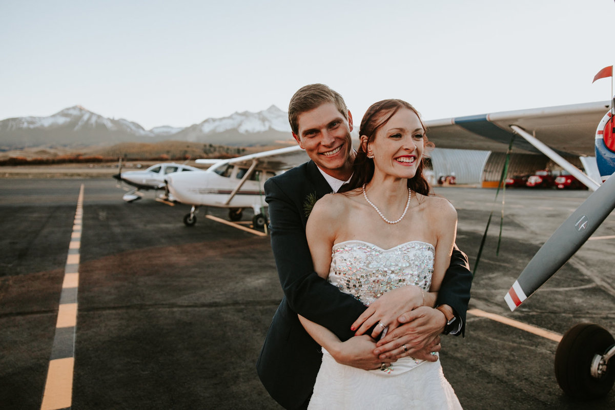 couple married at the Telluride airport in Telluride, CO