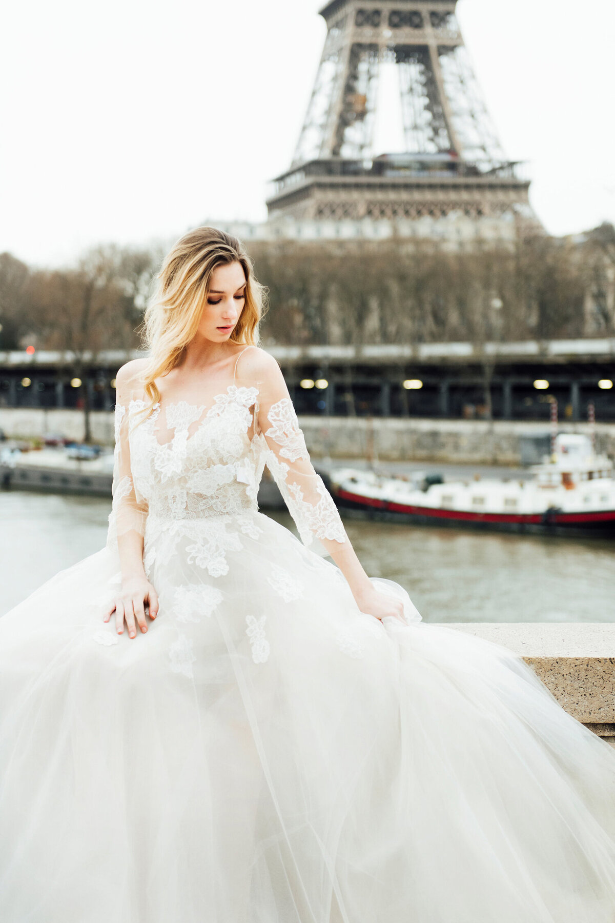 Katie Mitchell, Monique Lhuillier Bridal Paris France Wedding Trine Juel Hair and makeup 6