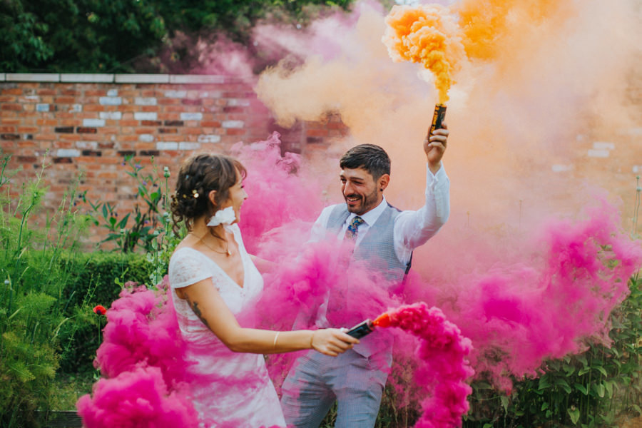 colourful Wedding photo with smoke bombs
