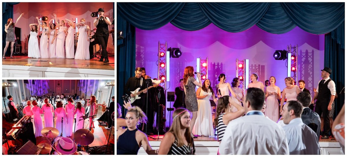 TFWC Mansion Austin wedding photographer bridesmaids with band