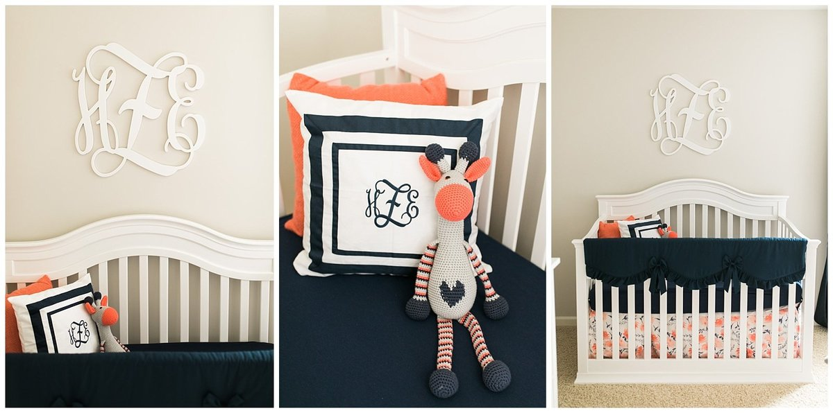 Raleigh Newborn Photographer Coral Navy Nursery