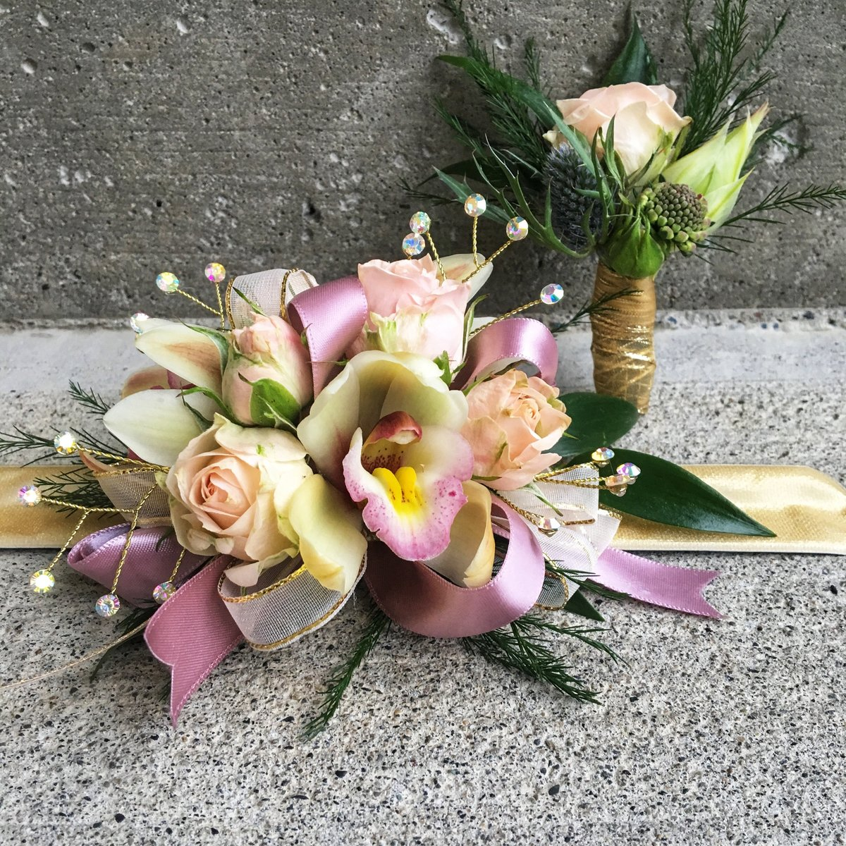Butterscotch Cymbidium wrist corsage and boutonniere