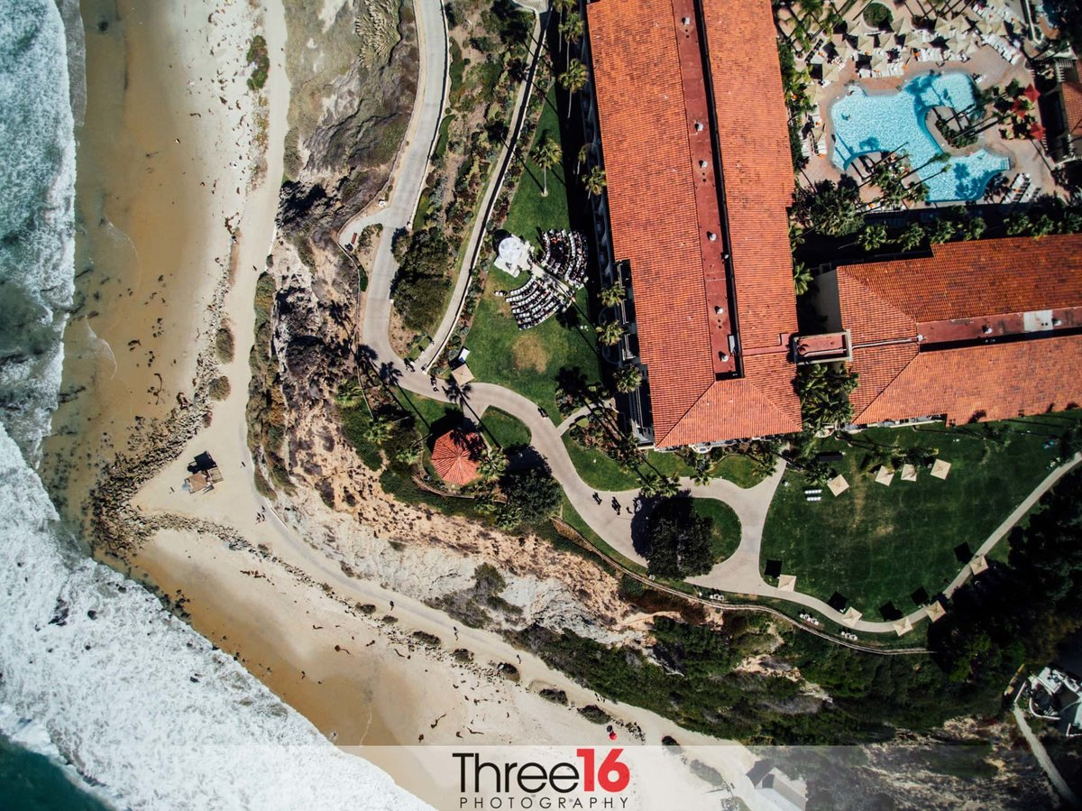 Aerial view of the Ritz-Carlton Wedding Venue off the beach in Dana Point