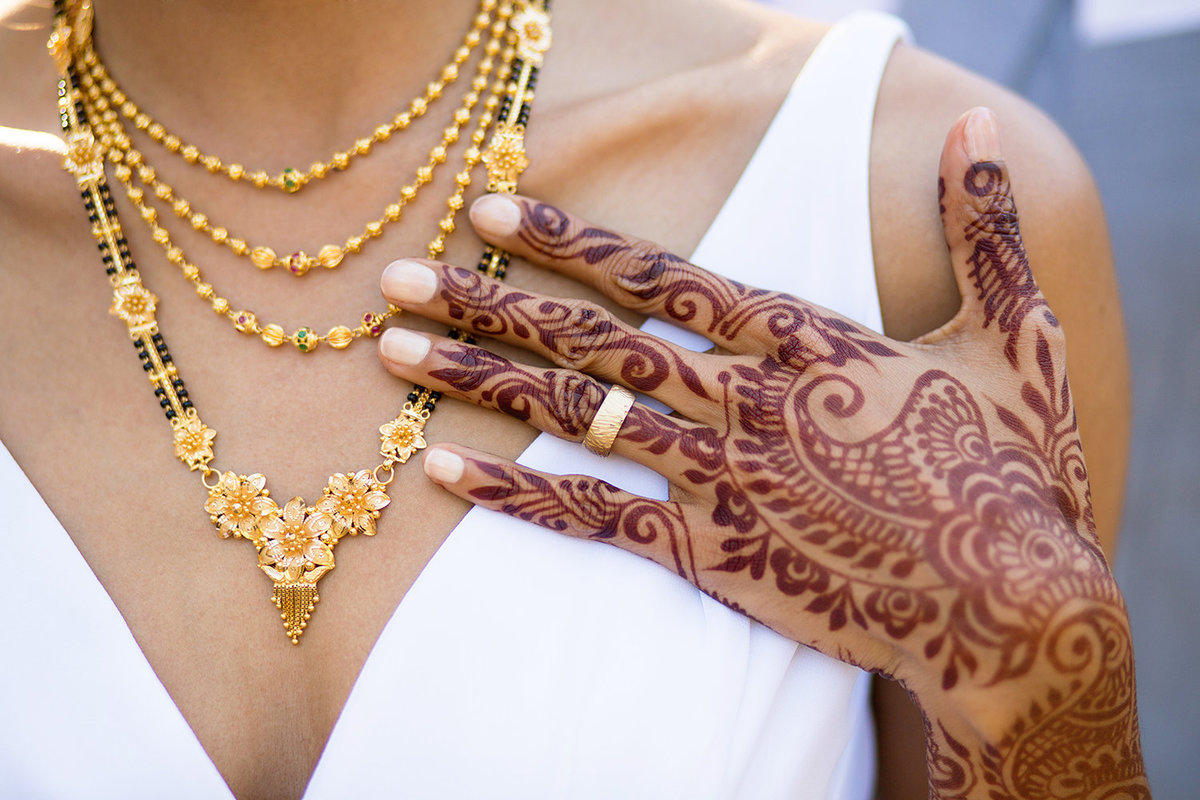 wedding photos hand and ring shot with henna